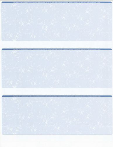 125 Sheets - 375 Checks  Blank Check Stock Paper - Blue - Three (3) on a Page